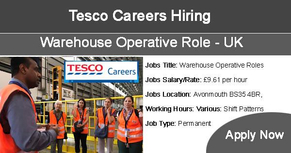 Tesco Careers Hiring Warehouse Operative Roles